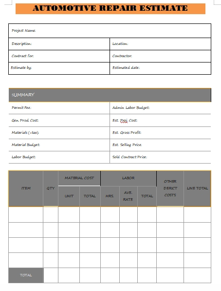 automotive repair estimate template word template free
