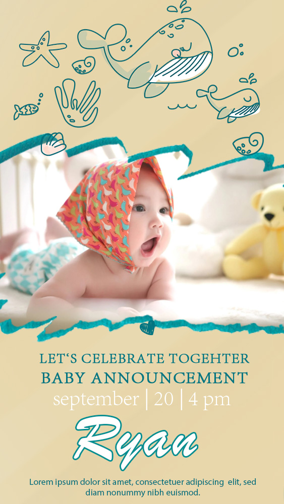 baby announcement template example psd design