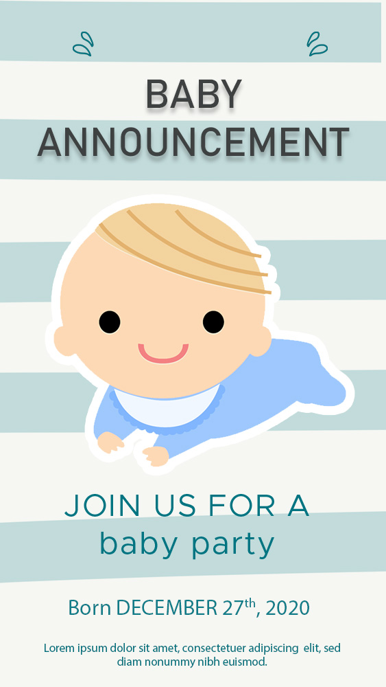 baby announcement template free download psd