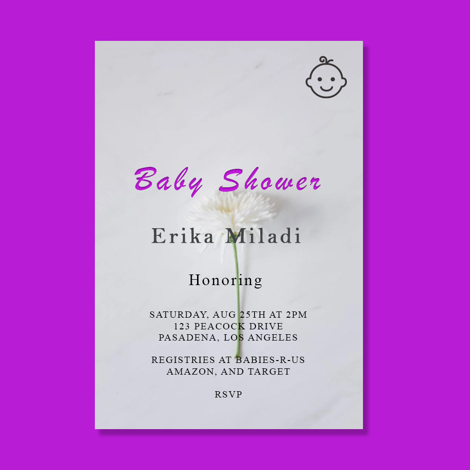 baby shower card template in photoshop free download