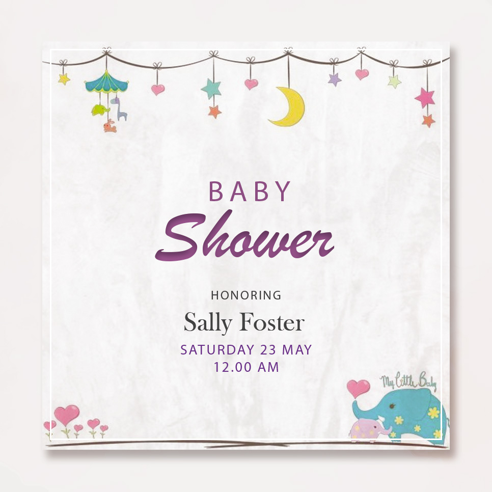 baby shower card template in psd design