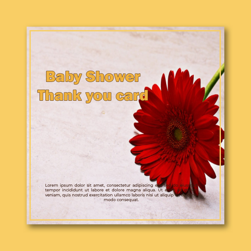baby shower thank you card template in psd design