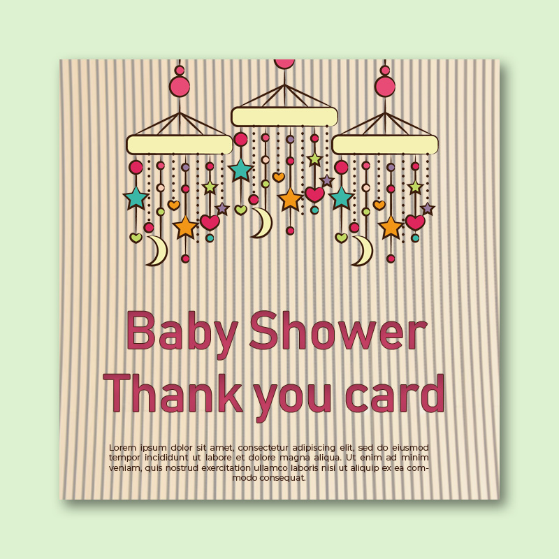 baby shower thank you card template psd template free