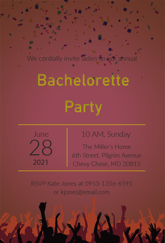 bachelorette party invitation template customizable psd design template