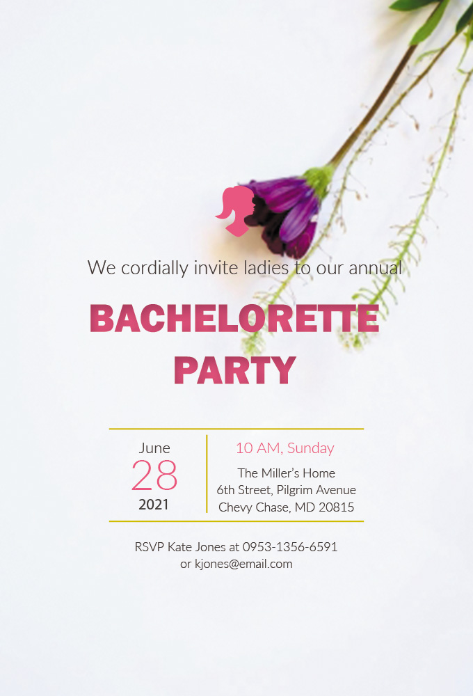 bachelorette party invitation template example psd design