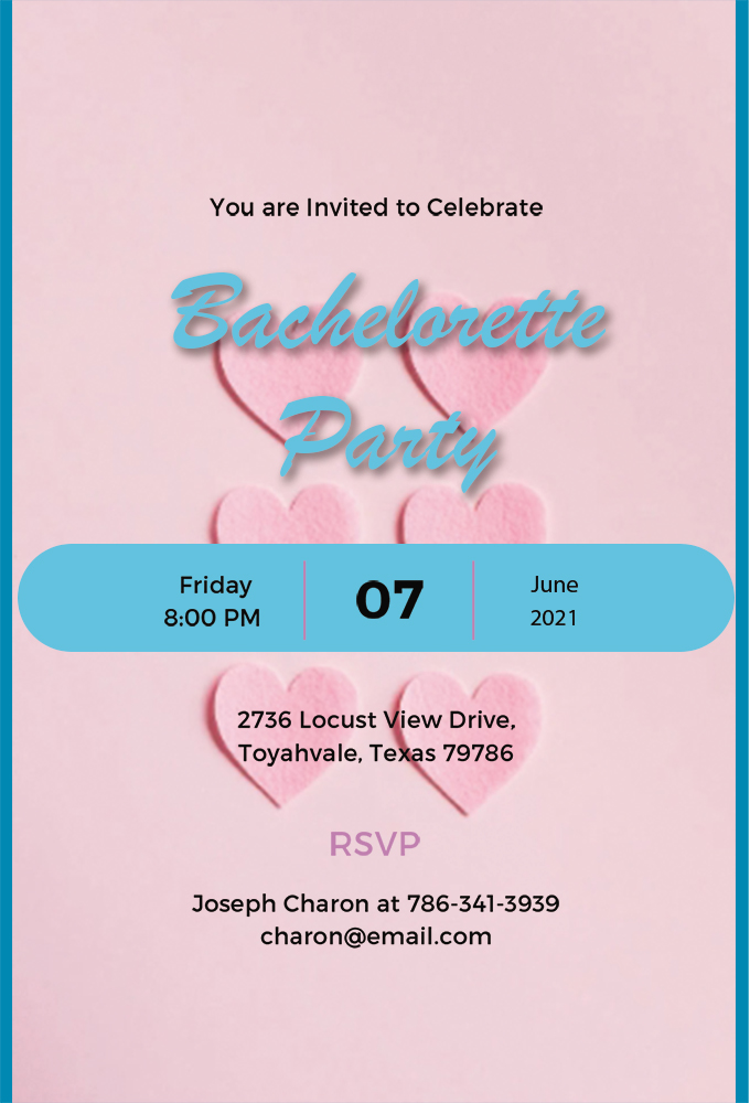 bachelorette party invitation template in photoshop