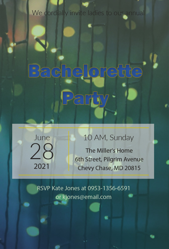 bachelorette party invitation template in psd design