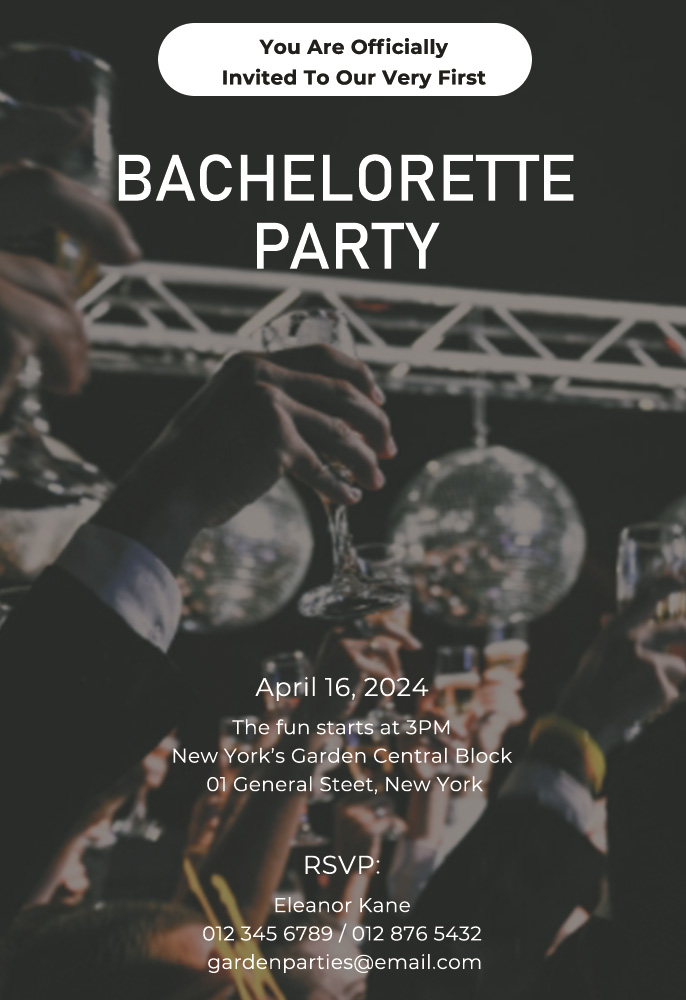 bachelorette party invitation template template for photoshop
