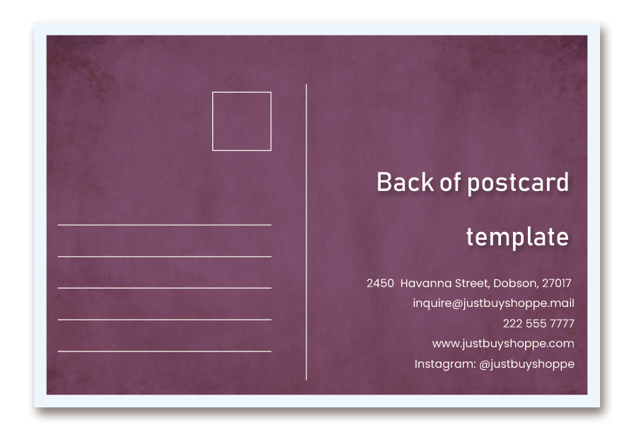 back of postcard template in photoshop