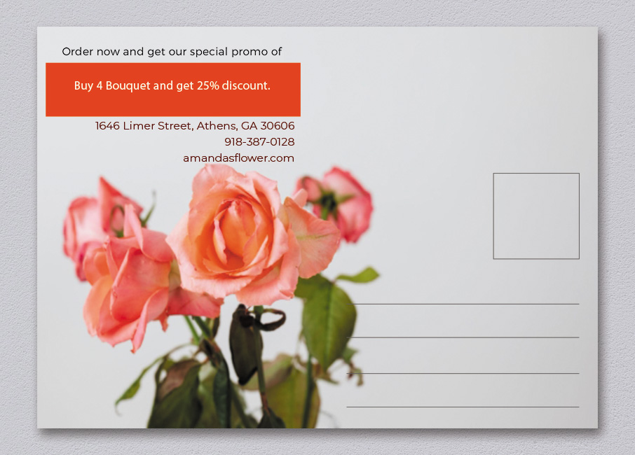 back of postcard template in psd design
