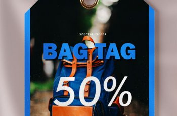 bag tag template in psd design