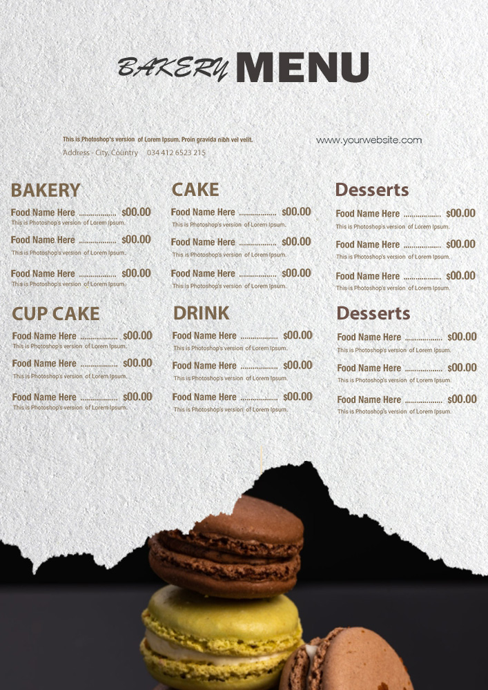 bakery menu template in photoshop free download