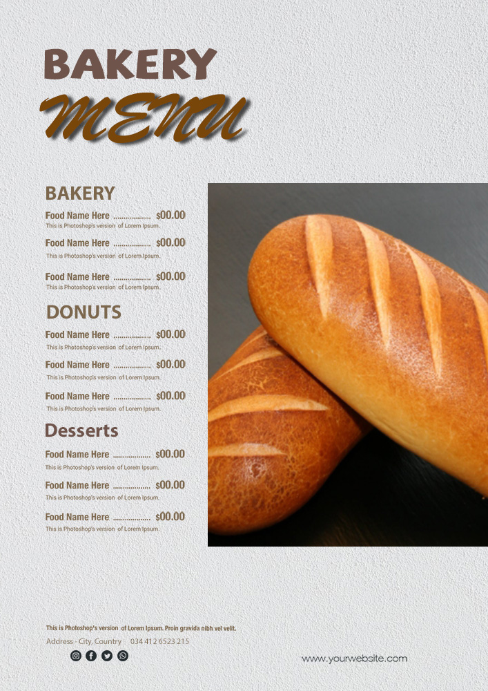 bakery menu template in photoshop