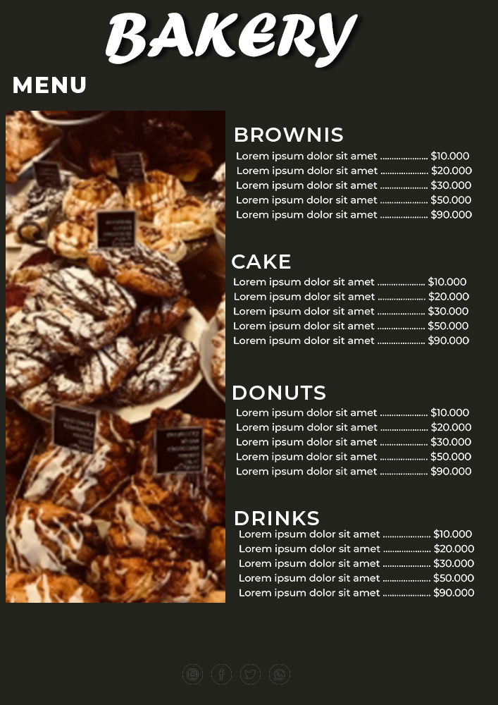 bakery menu template in psd design