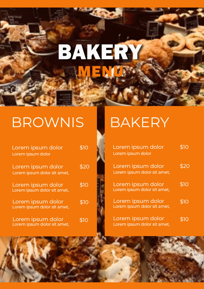 bakery menu template template for photoshop