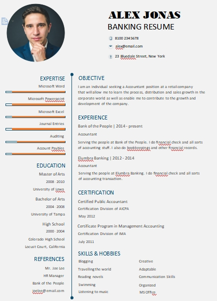 banking resume template customizable word design template