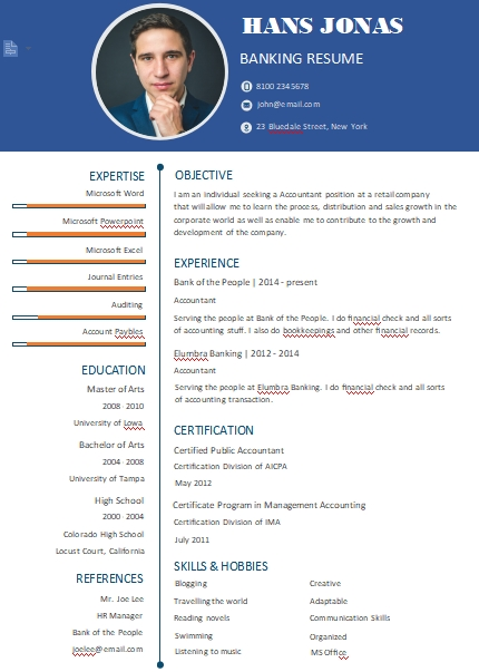 banking resume template example word design