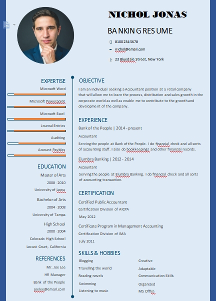 banking resume template in word design