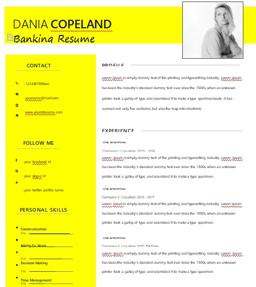 banking resume template in word