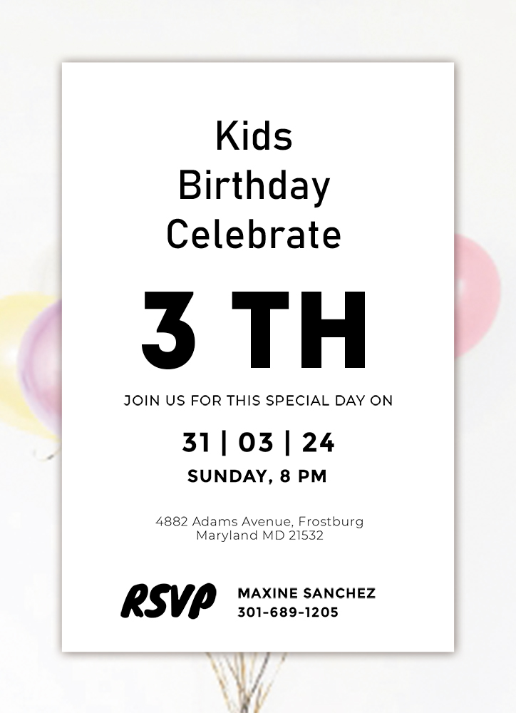 kids invitation birthday template customizable psd design template