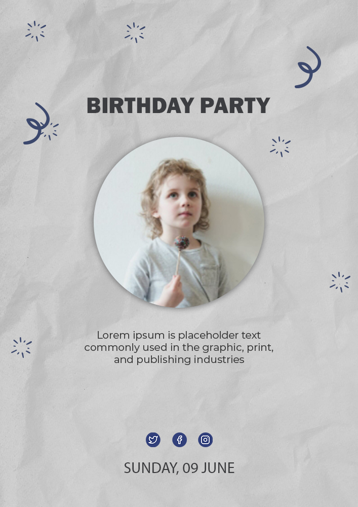 kids invitation birthday template template for photoshop